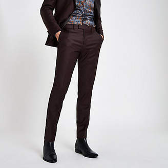 River Island RI 30 burgundy skinny fit suit pants
