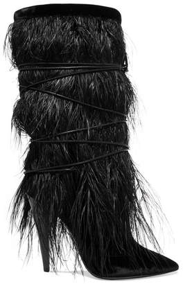 Saint Laurent Yeti Feather-trimmed Velvet Boots - Black