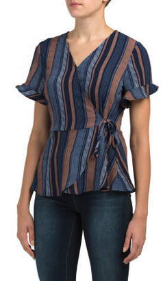 Striped Surplus Top With Side Tie