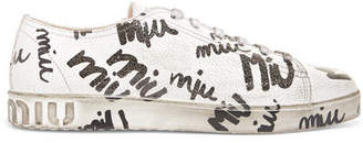 Miu Miu Logo-print Cracked-leather Sneakers - White