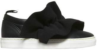 MSGM Leather Slip-On Sneakers W/ Felt Ruffle