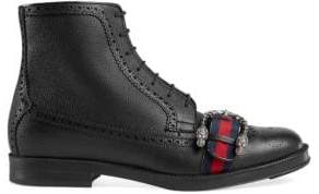Gucci Brogue Boot With Web