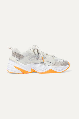 Nike M2k Tekno Leather And Camouflage-print Canvas Sneakers - Beige