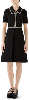 Gucci Crystal-Trim Short-Sleeve Fit-and-Flare Stretch-Jersey Dress