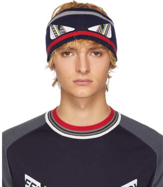 Fendi Navy and Red Wool Bag Bugs Headband