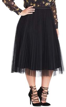 City Chic Nouveau Tulle Pleated Skirt