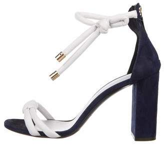 Oscar de la Renta Knotted Leather Ankle-Strap Sandals