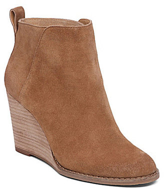 Lucky Brand Yezzah Suede Stacked Wedge Bootie $99.99 thestylecure.com