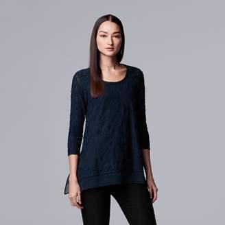 Vera Wang Women's Simply Vera Jacquard Handkerchief-Hem Top