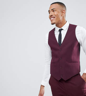 Design DESIGN Tall skinny suit waistcoat in burgundy
