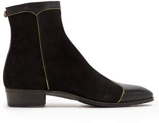 Gucci Gold-trimmed suede lizard-skin boots