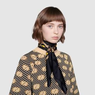 Gucci Silk scarf with leopard print