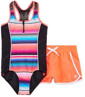 ZeroXposur Stripe 1pc. Swimsuit with Matching Shorts - Girls 7-16 & Plus