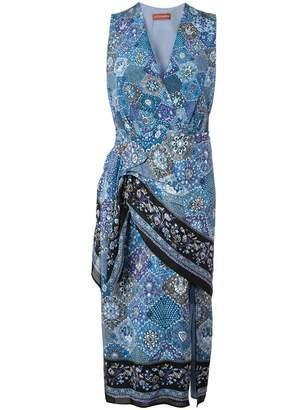 Altuzarra Sleeveless V Neck Bandana Print Dress