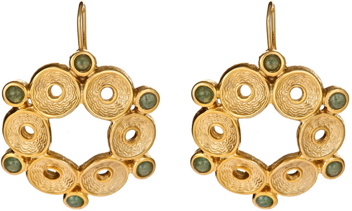 Janna Conner Designs Gold Marquis Moss Agate Sarotte Earrings