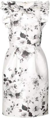 Monique Lhuillier floral print ruffle dress