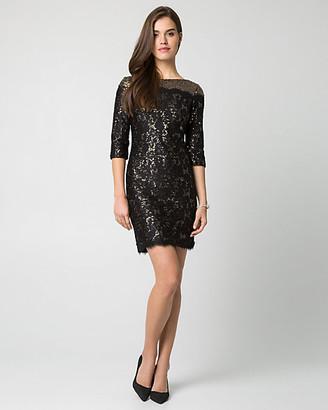 Le Château Sequin Boat-neck Mini Dress