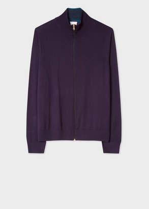 Paul Smith Men's Purple Merino-Wool Zip-Through Cardigan