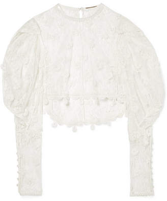 Cropped Cotton-blend Lace Blouse - Ecru