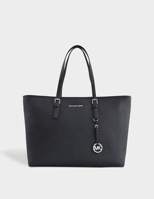 MICHAEL Michael Kors Jet Set Travel Medium Tz Multifunction Tote Bag in Black Saffia Leather