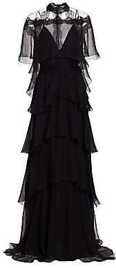 Alberta Ferretti Women's Tiered Chiffon Mockneck Gown