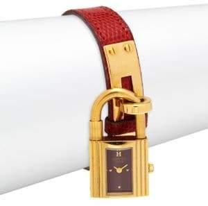 Vintage Kelly Lizard Leather-Strap Watch