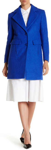 DKNY DKNY Textured Notch Collar Coat (Petite)