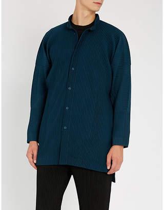 Issey Miyake Homme Plisse Grandad collar oversized pleated shirt