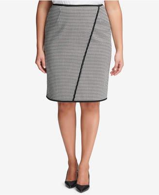 Calvin Klein Plus Size Houndstooth Pencil Skirt