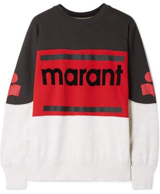Etoile Isabel Marant Gallian Flocked Cotton-blend Jersey Sweatshirt - Black