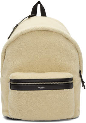 Saint Laurent Off-White Shearling City Backpack