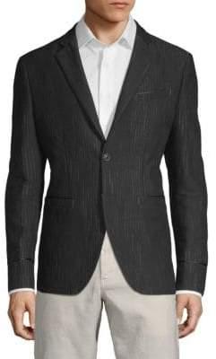 John Varvatos Striped Cotton & Wool Jacket