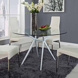 Modway Tilt Modern Dining Table with Glass Top in White