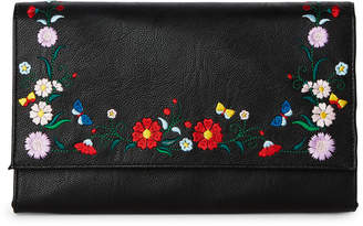 Jessica McClintock Black Nora Embroidered Convertible Crossbody