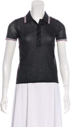 Alexander Wang Glitter-Accented Short Sleeve Polo