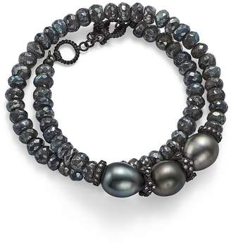Armenta Old World Midnight Beaded Labradorite, Tahitian South Sea Black Pearl, and Champagne Diamond Double Wrap Bracelet