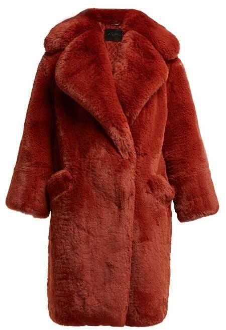 Faux Fur Coat - Womens - Burgundy