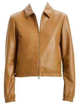 Theory Women's Shrunken Leather Bomber - Brown Moss - Size 12