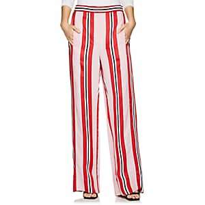 Cédric Charlier Women's Satin-Striped Wide-Leg Pants - Pink