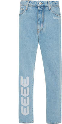 Off-White Embroidered Cropped Mid-Rise Jean