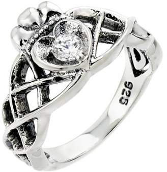Celtic Claddagh Rings 925 Sterling Silver Solitaire Clear CZ Knot Claddagh Ring (Size 7)