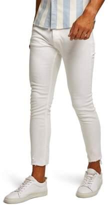 Topman Raw Hem Skinny Fit Jeans