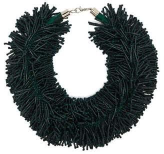 Vanda Jacintho - Shower Bead Tassel Necklace - Womens - Dark Green