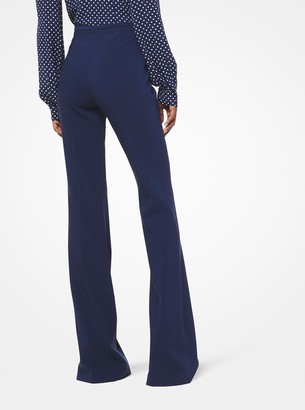 Michael Kors Stretch Pebble-Crepe Flared Pants