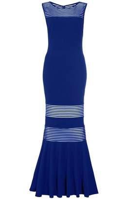 Quiz Royal Blue Mesh Insert Fishtail Maxi Dress