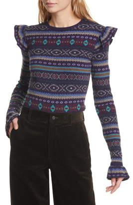 Polo Ralph Lauren Fair Isle Ruffle Sleeve Merino Wool Blend Sweater