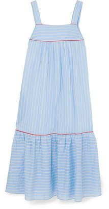 Paul & Joe Bow-embellished Striped Cotton-blend Poplin Midi Dress - Blue