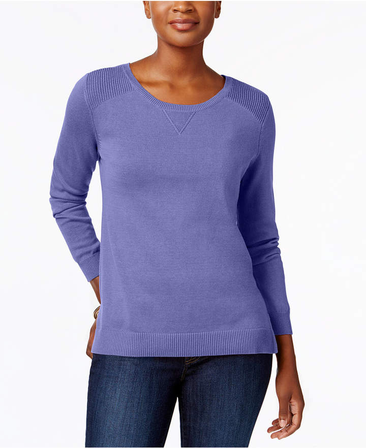 Karen Scott Side-Slit Cotton Sweater, Created for Macy's