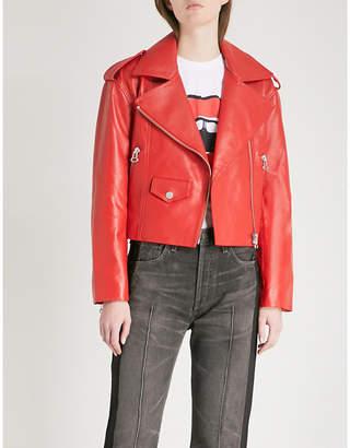 Mo&Co. Zipped leather biker jacket