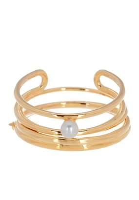 BaubleBar 18K Gold Plated Sterling Silver Perla 4mm Freshwater Pearl Ring Set - Size 6